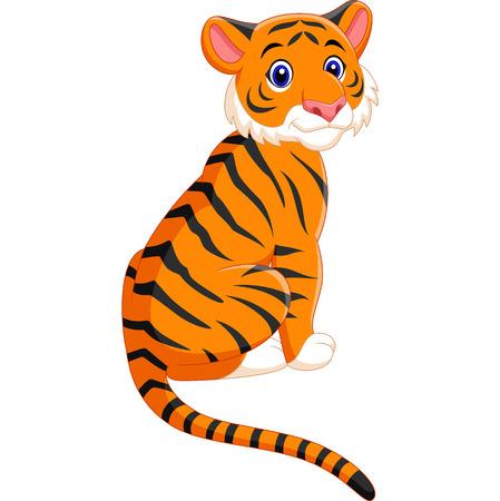 Vector illustration of Cute tiger cartoon sitting