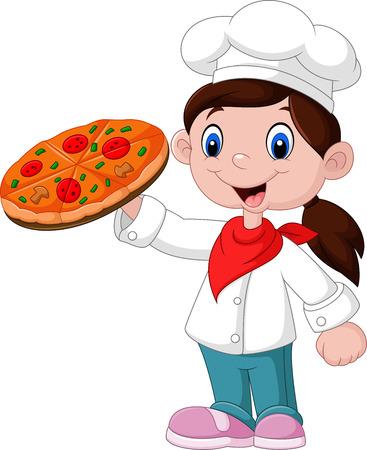 Vector illustration of Cute little girl holding pizza
