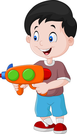 child laughing: Vector illustration of Little boy playing with water gun Illustration