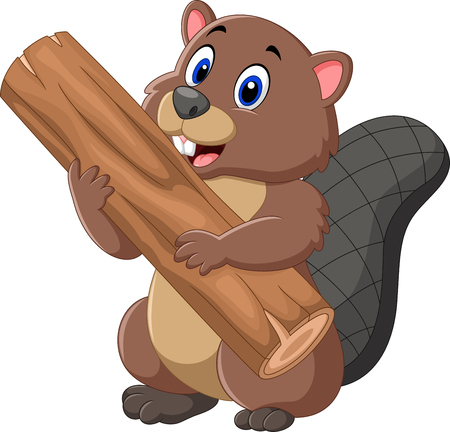 illustration of Cartoon beaver holding wood