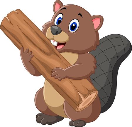 ilustración de dibujos animados de castor que sostiene la madera