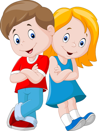 Illustration de bande dessinée heureux enfants isolé Banque d'images - 69051900