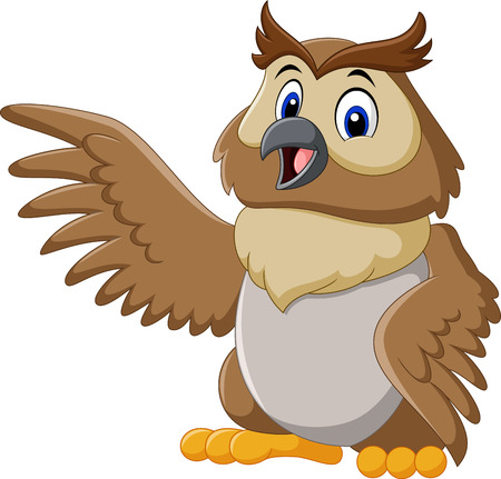 illustration of Cute owl cartoon waving Illustration