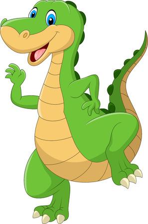 illustration of Cartoon green dinosaur