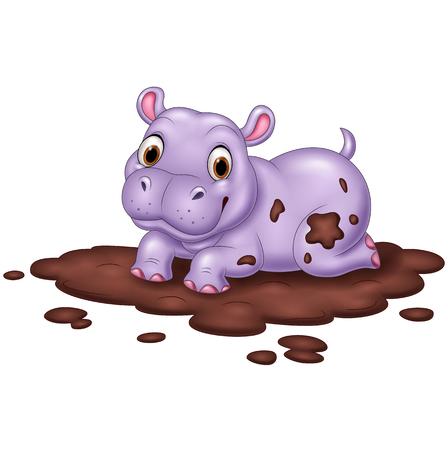 Illustrazione di carino ippopotamo nel fango