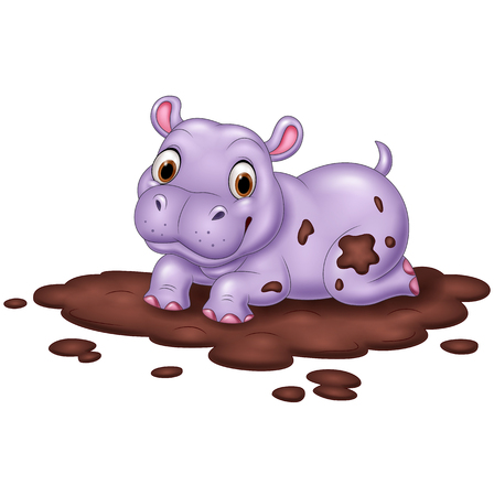 illustration of Cute hippo in the mud Illustration