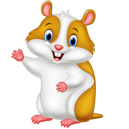 gnaw: illustration of Cute hamster waving hand