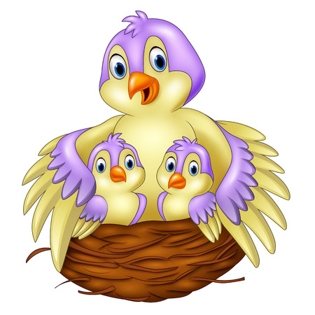happy family at home: illustration of Mother bird with her two babies in the nest Illustration