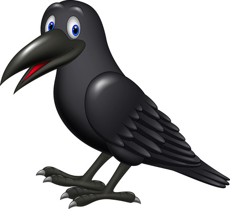 Vector illustration of Cartoon raven isolated on white background