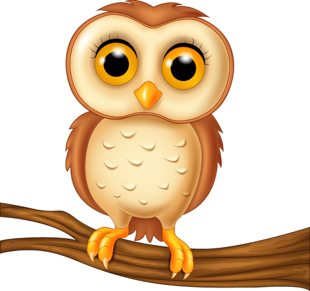 Vector illustration of Cute owl on a tree branch