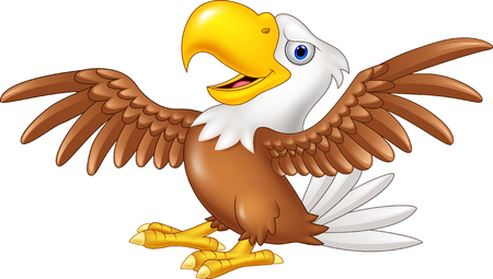 Vector illustration of Cartoon funny eagle flying