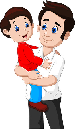 Vector illustration of Cartoon father and son playing together