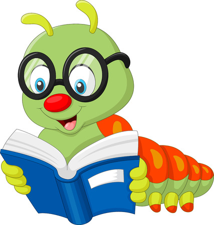 illustration of Caterpillar reading book Фото со стока - 68754655