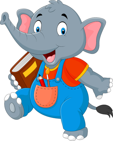 illustration of Cartoon funny elephant carrying book