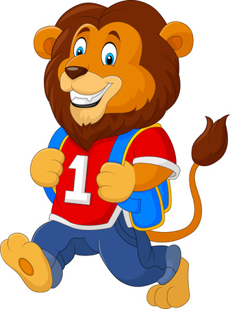 illustration of Cute lion with backpack Illustration