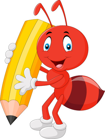illustration of Cartoon red ant holding pencil