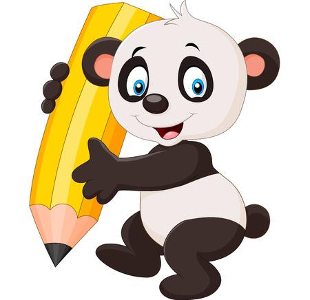 illustration of Cute panda cartoon holding pencil