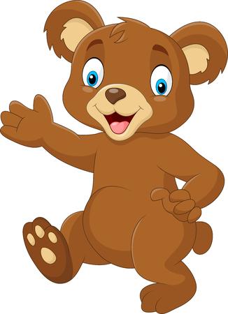 shape cub: illustration of Cartoon baby bear waving hand Illustration