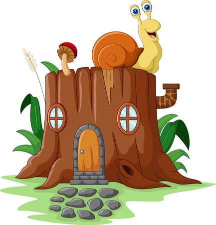 wood door: illustration of Fantasy house with snail