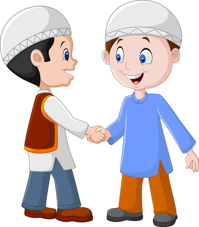 meet: illustration of Cartoon Muslim Boys Shaking Hands Illustration