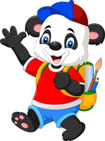illustration of Cartoon funny panda with backpack Illustration