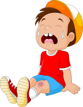 illustration of Cartoon crying boy with wounded leg