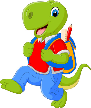 funny cartoon: illustration of Cartoon funny dinosaur with backpack