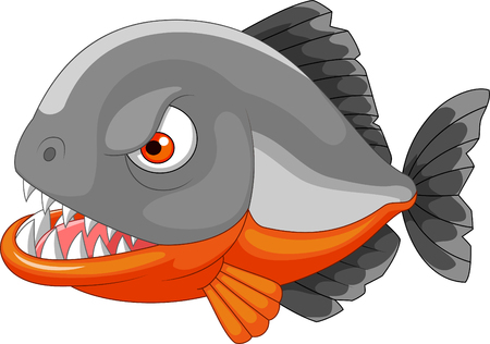 Vector illustration of Cartoon angry piranha