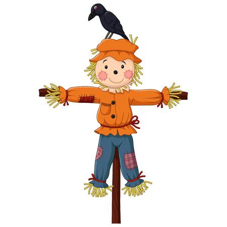 Vector illustratie van de vogelverschrikker cartoon