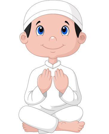 Vector illustration of Little boy praying