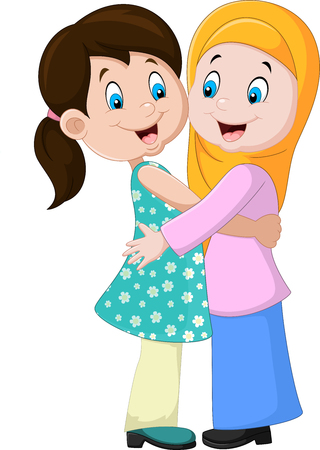 Vector illustration of Two girls hugging Illustration