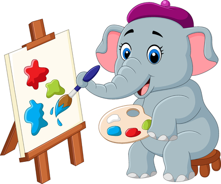 illustration of Cartoon elephant painting isolated on white background