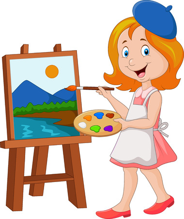 painter girl: illustration of Little girl painting on a canvas