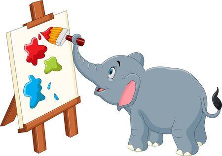 canvas art: illustration of Cartoon elephant painting