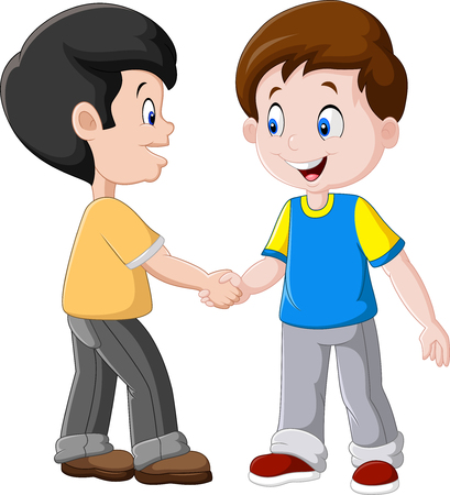 illustration of Little Boys Shaking Hands Фото со стока - 68127888