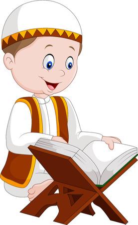 illustration of Cartoon boy reading Quran