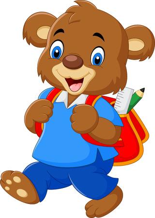 niño parado: ilustración de oso lindo con la mochila
