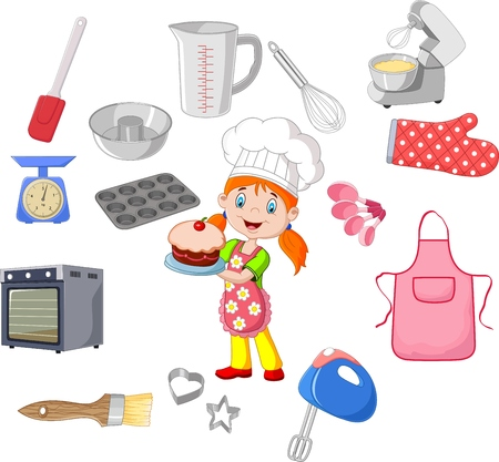 cookware: illustration of Chef girl and cookware Illustration