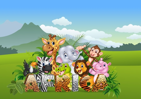 illustration of Cartoon wild animal in the jungle