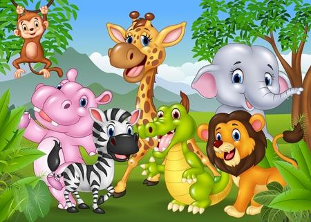 illustration of Cartoon wild animal in the jungle