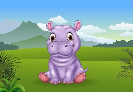 baby sitting: illustration of Cartoon funny baby hippo sitting