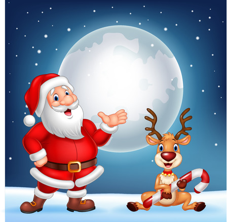 illustration of Santa and his reindeer Rudolf