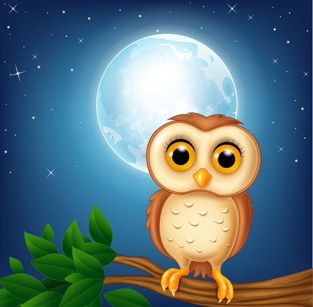 illustration of Cartoon owl on the tree branch