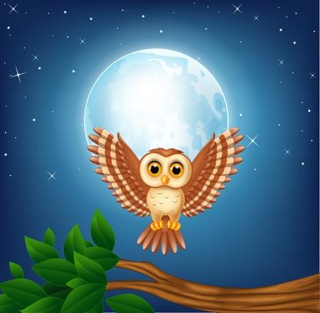 illustration of Cartoon owl flying in the night Illustration