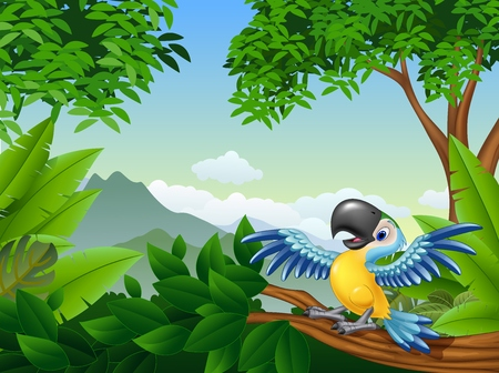illustration of Cartoon macaw in the jungle