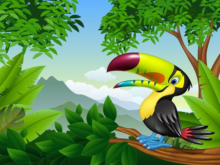 illustration of Cartoon toucan on a tree branch