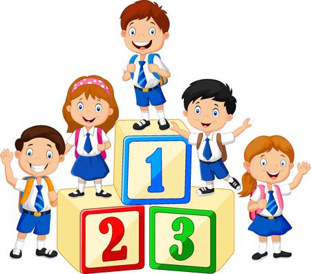 niños felices: ilustración de los niños pequeños felices con el bloque de números Vectores