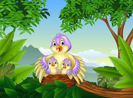 illustration of Mother bird with her two babies in the nest Illustration
