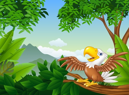 wriggle: illustration of Cartoon bald eagle on a tree branch