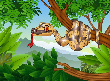 illustration of Cartoon Royal Python snake creeping on a branch Illustration